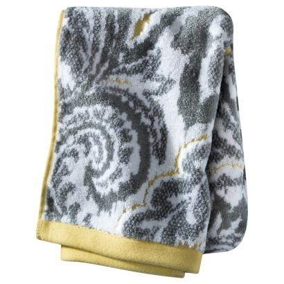 threshold textured gray and yellow paisley hand towel. Black Bedroom Furniture Sets. Home Design Ideas