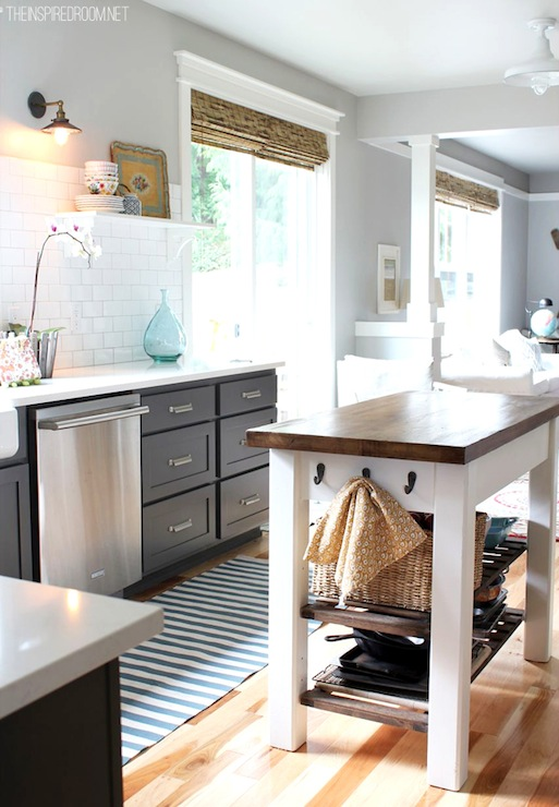 Kendall Charcoal and kitchen island painted Benjamin Moore's White