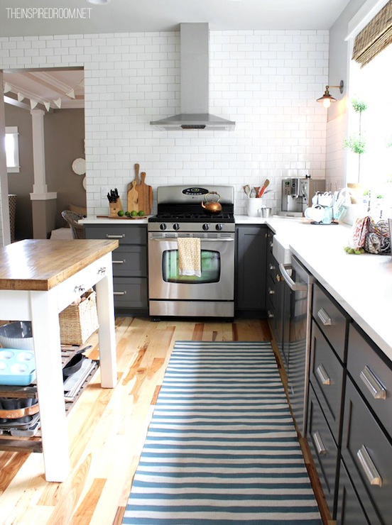 White upper cabinets gray lower cabinets transitional for Kitchen ideas no upper cabinets