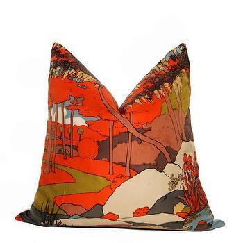 Vintage Orange Scene Scarf Pillow, CC DeuxVie