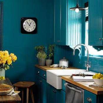 Peacock Blue Wall Paint, Eclectic, kitchen, Benjamin Moore Varsity Blues, Country Living