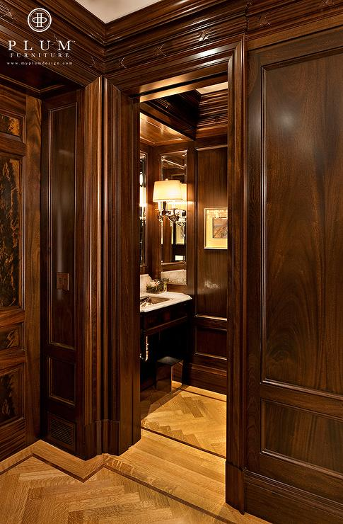 mahogany paneled walls traditional bathroom mcgill design group