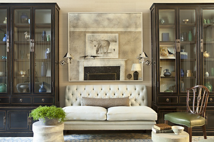 Tufted Settee - Transitional - living room - Jeffrey Alan Marks