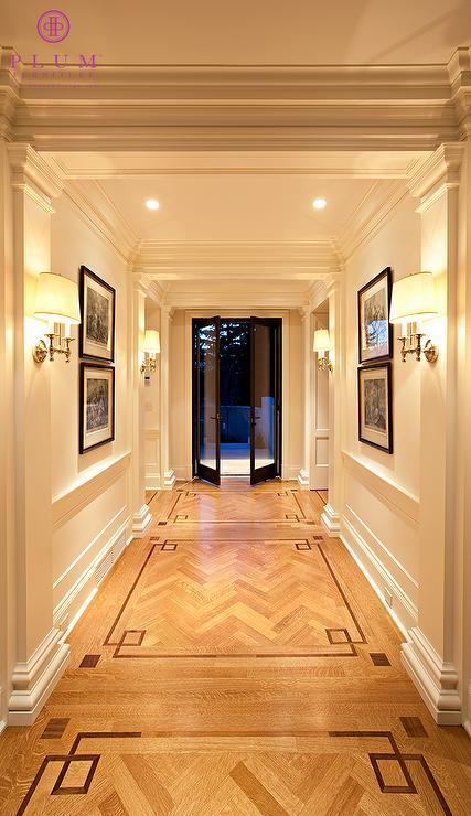 Traditional greek key trim in enterance foyer mcgill for Entrance flooring ideas