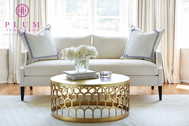 Tory Round Clear and Bronze Coffee Table