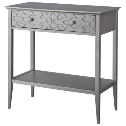 threshold gray fretwork console table