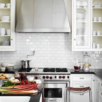 Glossy White Subway Tile Backsplash Design Ideas