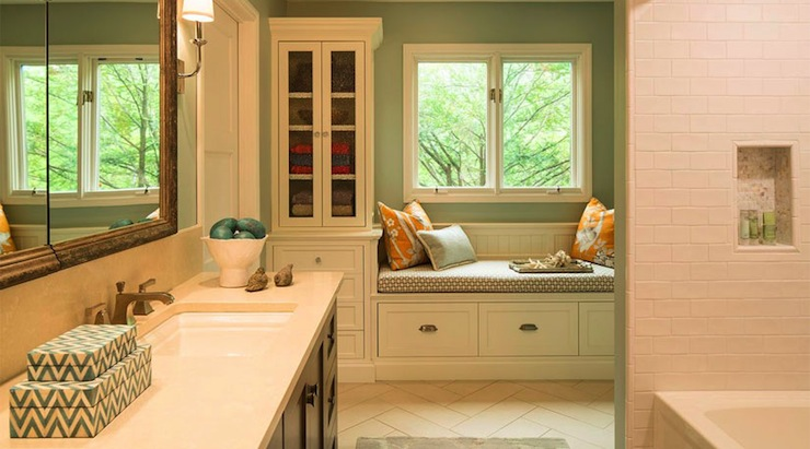 Chevron Box Transitional Bathroom Benjamin Moore