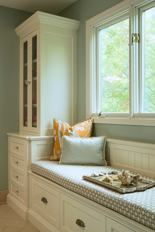 white color window seat | Paint Gallery - Benjamin Moore Silver Marlin - Paint ...