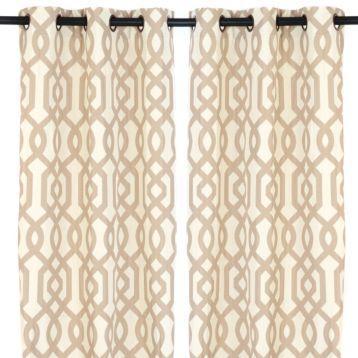 Amazing Taupe Geometric Print Gatehill Curtain Panels