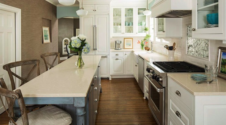 Long Kitchen Island Transitional Kitchen Benjamin Moore Silver Marlin Renae Keller