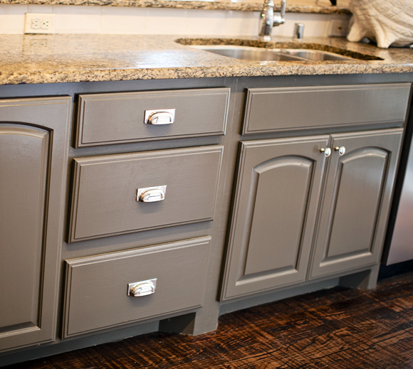 Grey Painted Kitchen Cabinets: Sherwin Williams Porpoise