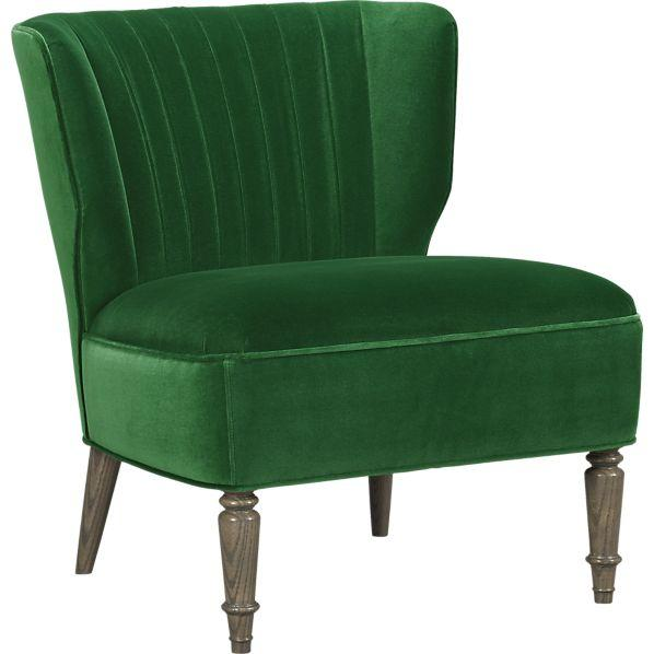 Arietta Green Velvet Ribbed Back Chair
