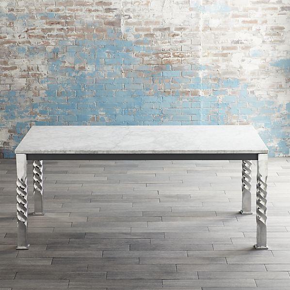 Mallorca Rectangular Marble Top Aluminum Spiral Legs Dining Table