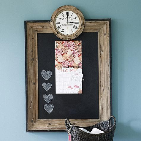 wood border chalkboard clock