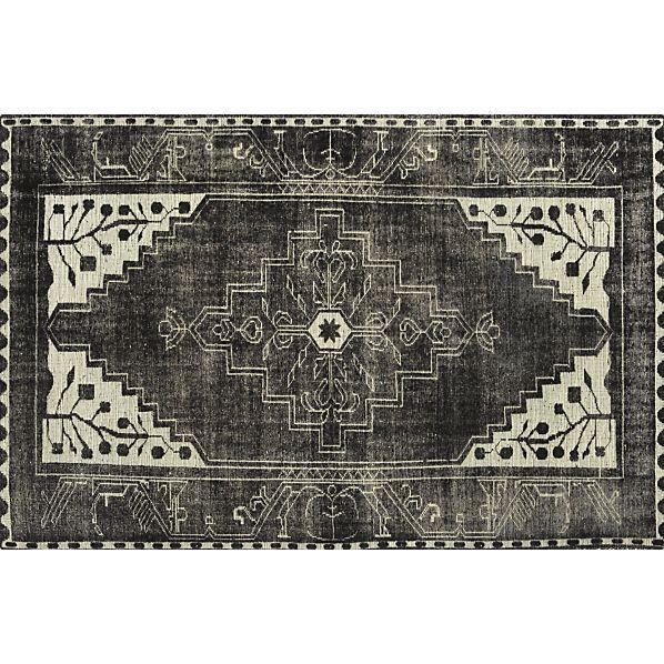 Black And White Geometric Persian Anice Rug