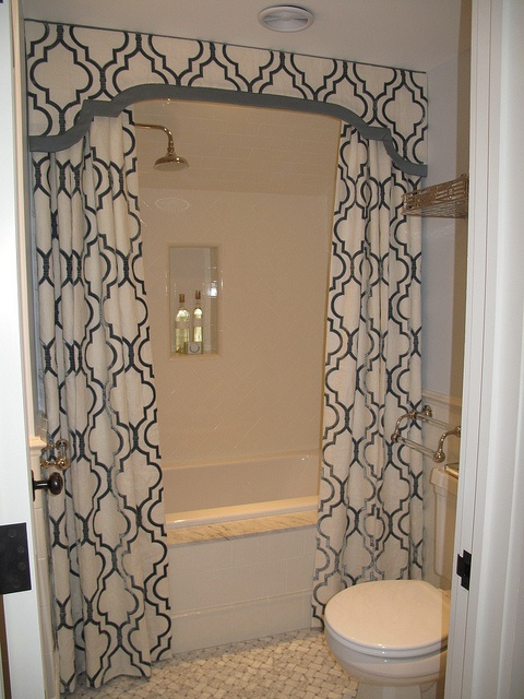 Shower Valance with Curtains - Transitional - bathroom - Liz Caan ...