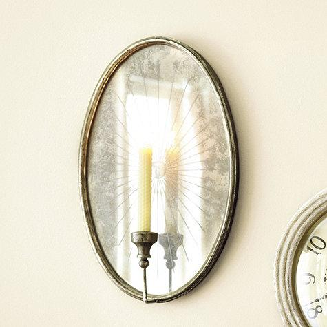 & Oval Foxed Mirrored Candle Sconce