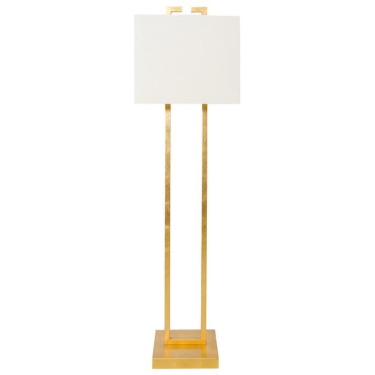 Worlds away ethan rectangle gold leafed floor lamp aloadofball Image collections
