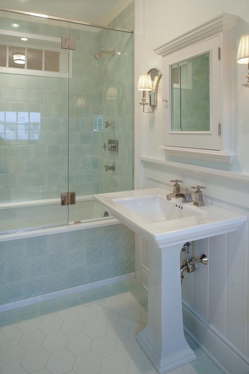 Hex Tile Floor - Transitional - bathroom - Carole Reed Design