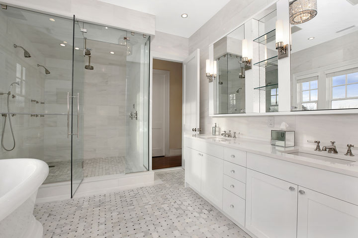 White marble bathroom transitional bathroom carole for Marble master bathroom designs