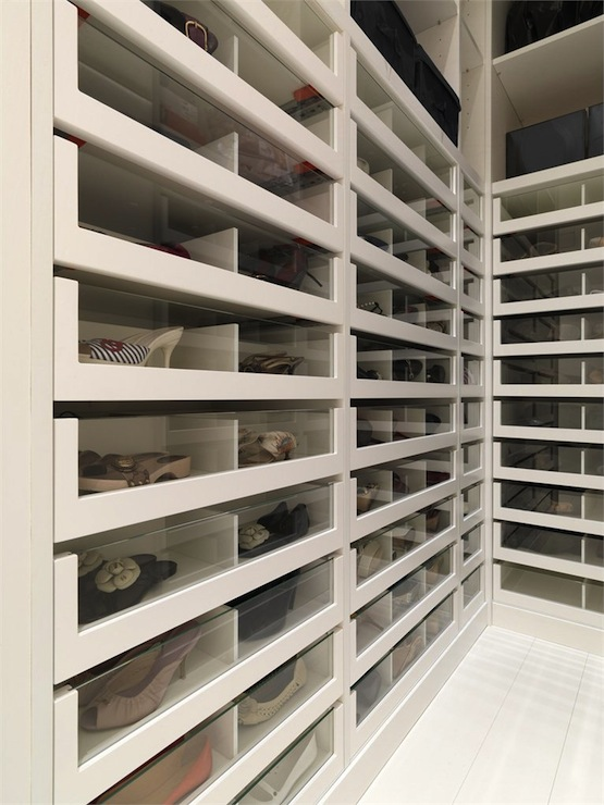 Fabulous Closet With Acrylic Front Pull Out Shoe Cabinets.