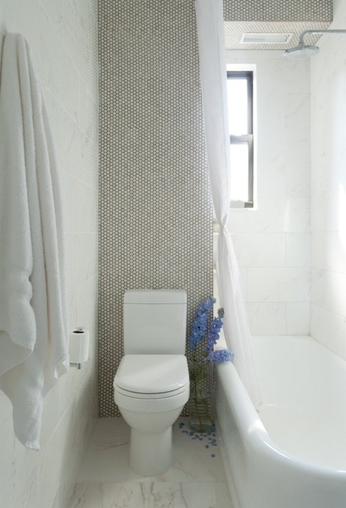 White Penny Tiles With Gray Grout Contemporary