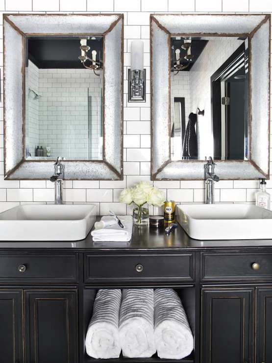 Antiqued bathroom vanity contemporary bathroom hgtv - Salle de bain vintage ...