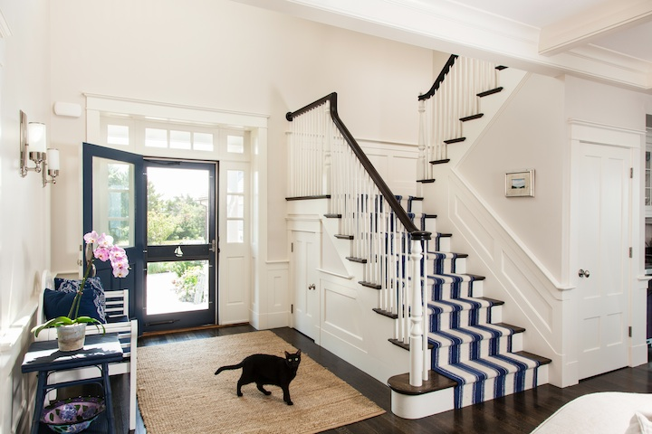 Staircase With Rope Handrail And Jute Runner Cottage