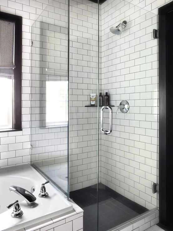 black and white shower tiles - White Subway Tile Shower
