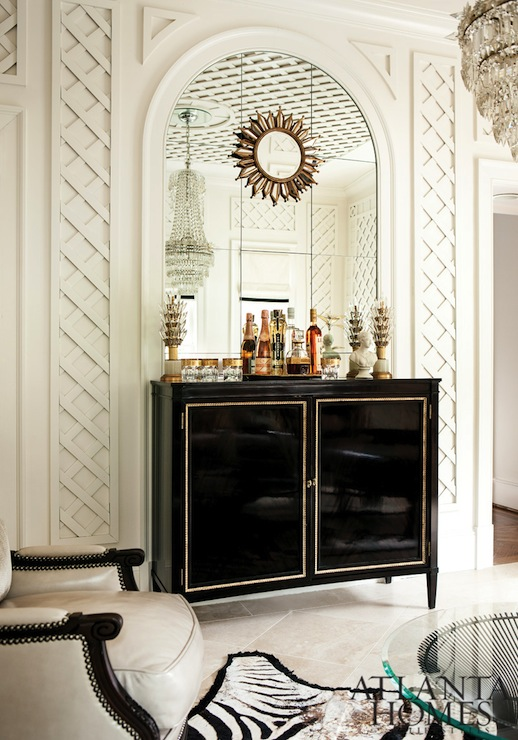 Lacquered Bar Cabinet Transitional Living Room Atlanta Homes Lifestyles