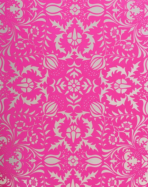 Dauphine Electric Raspberry Pink Damask Wallpaper