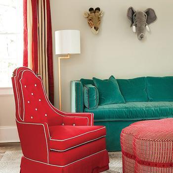 Teal Velvet Sofa, Contemporary, boy's room, Atlanta Homes & Lifestyles