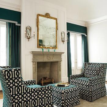 Teal Curtains, Transitional, bedroom, Atlanta Homes & Lifestyles