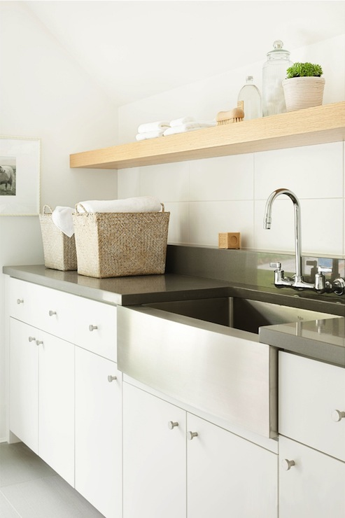 Stainless Steel Apron Sink - Contemporary - laundry room - Kelly Deck ...