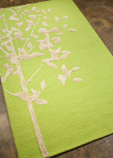 Ivory Abstract Tree Green Rug
