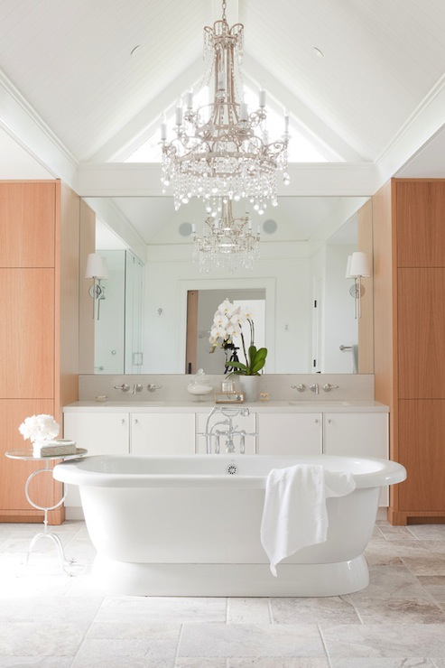 Blonde Wood Cabinets Contemporary Bathroom Kelly