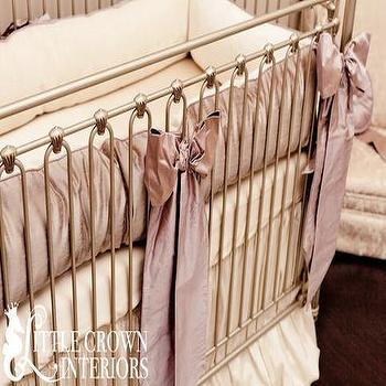 Orchid Lilac Silk Crib Bedding Set I Little Crown Interiors