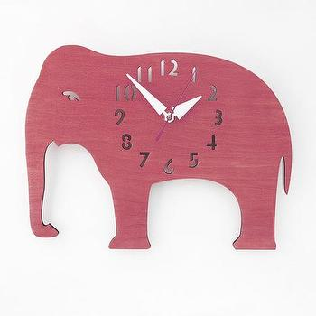 Wood Elephant Wall Clock I Little Crown Interiors
