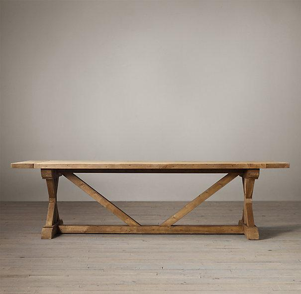 Natural Salvaged Wood X Base Extension Table