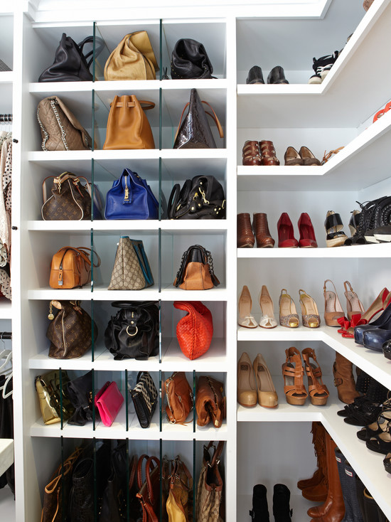 Shelves For Handbags Transitional Closet La Closet