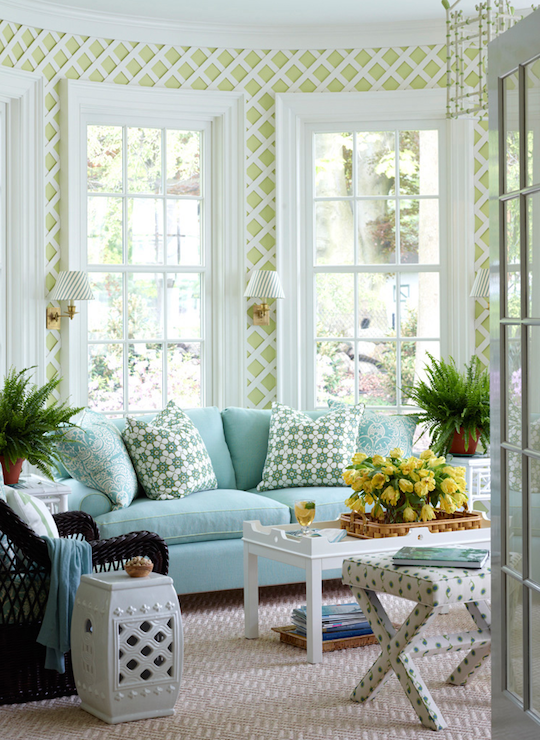Aqua Sofa Transitional Living Room Ashley Whittaker
