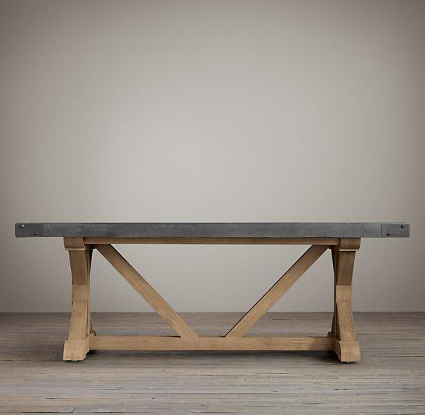 Concrete Top Wood Base Rectangular Dining Table