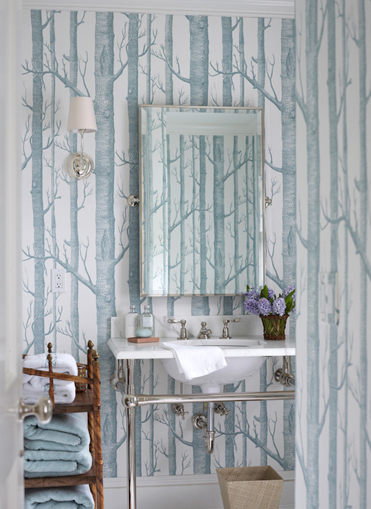 Woods Wallpaper Contemporary Bathroom Ashley
