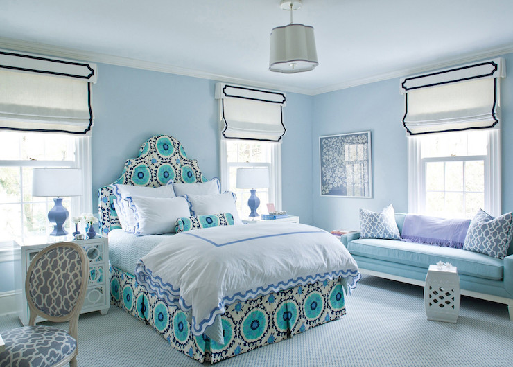 Bedroom with Blue Walls - Contemporary - bedroom ...