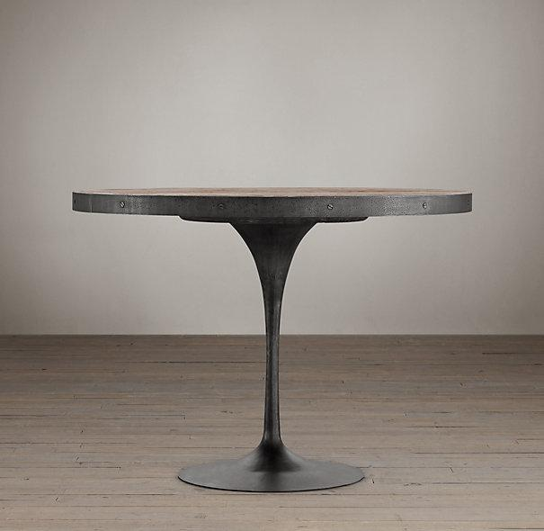 Aero Wood Top Round Metal Dining Table