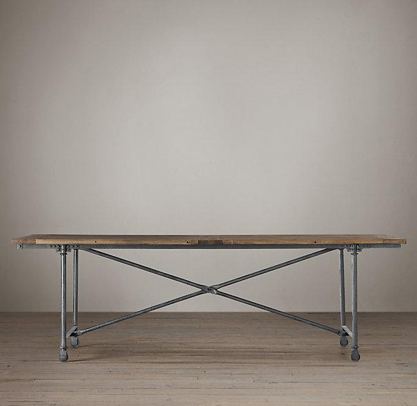 Flatiron Metal Base Wood Top Dining Table