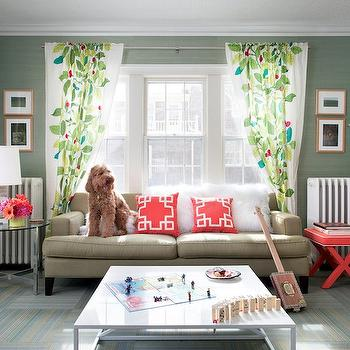 Green Grasscloth, Contemporary, living room, The New York Times