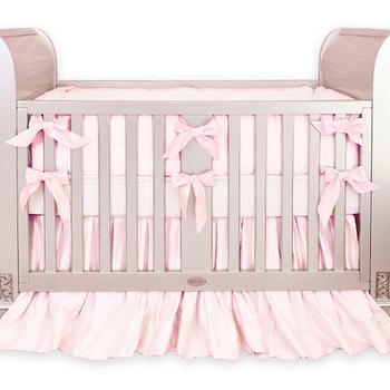Baby Pink Silk Crib Bedding I Little Crown Interiors