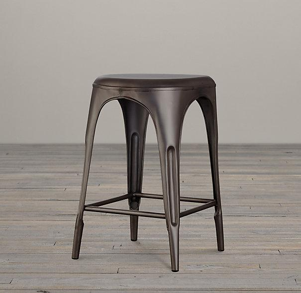 Remy Backless Gunmetal Gray Stool